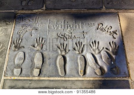 Handprints  Of Twilight Saga Stars In Hollywood Boulevard In The Concrete Of Chinese Theatre's Forec