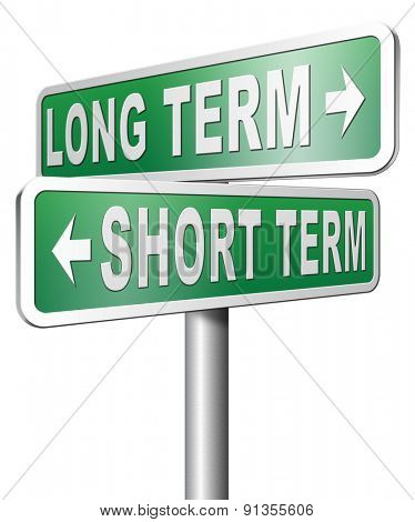 long term short term planning or thinking plan and think ahead for the near and far future