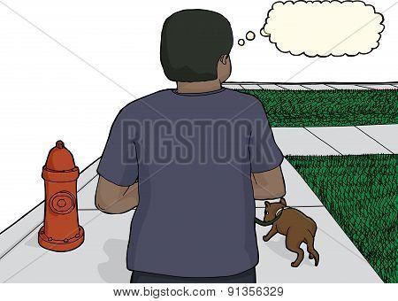 Black Man Walking Dog On Sidewalk