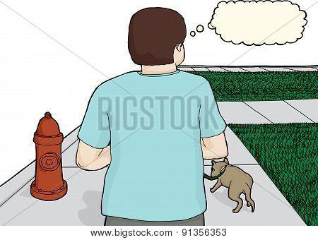 Caucasian Man Walking Dog