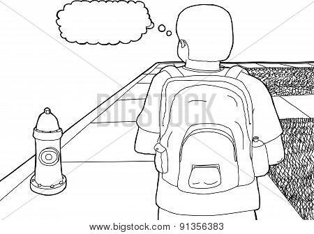 Outline Of Student On Sidewalk