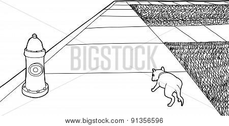 Outline Of Single Puppy On Sidewalk