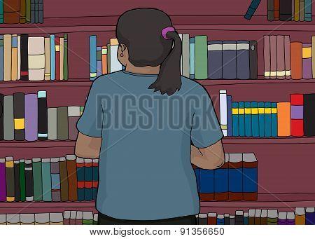 Rear View Of Woman At Bookshelf