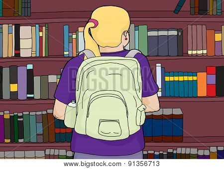 Blond Woman With Backpack At Bookshelf