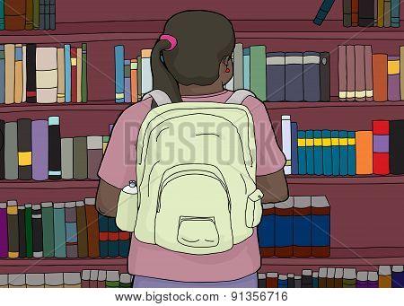 Rear View Of Hispanic Student At Bookshelf