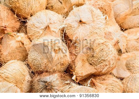 Pile Of Hairy Brown Coconuts, Coconut Shell In Thailand.