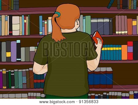 Red Haired Woman At Library