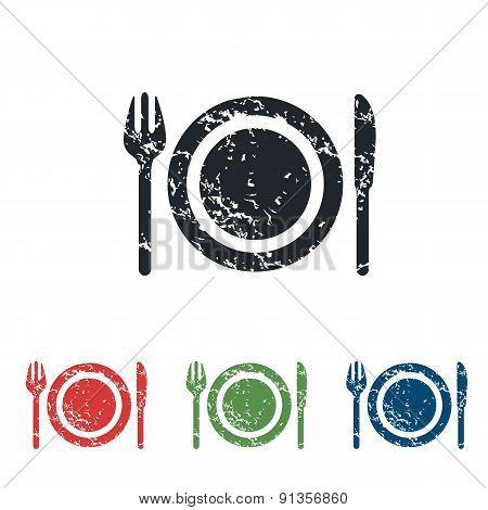 Dishware grunge icon set