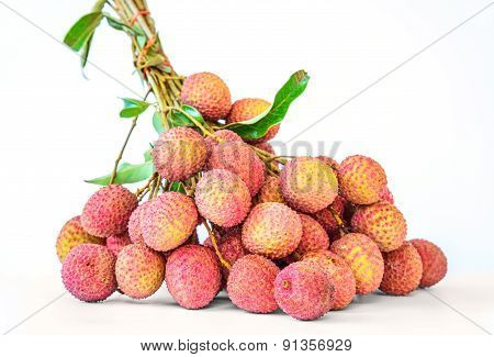 Ripe Fruit Of The Lychee Isolated On White Background