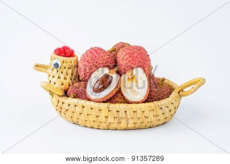 Ripe Lychee Fruit In Hen Basket Against White Background