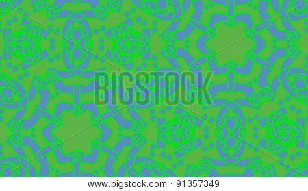 Seamless Green Kaleidoscope Stars