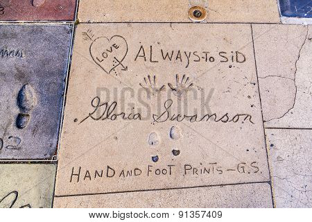 Handprints Of Gloria Swanson In Hollywood Boulevard In The Concrete Of Chinese Theatre's Forecourt