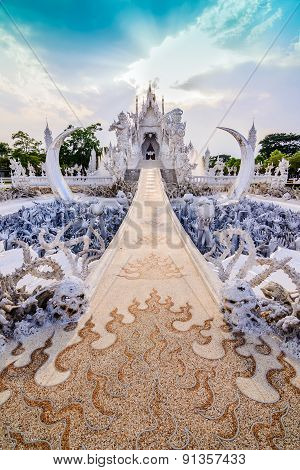 Thailand Temple Or Grand White Church Call Wat Rong Khun,at Chiang Rai Province, Thailand,contempora