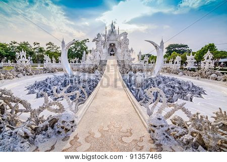 Thailand Temple Or Grand White Church Call Wat Rong Khun,at Chiang Rai Province, Thailand,contempora