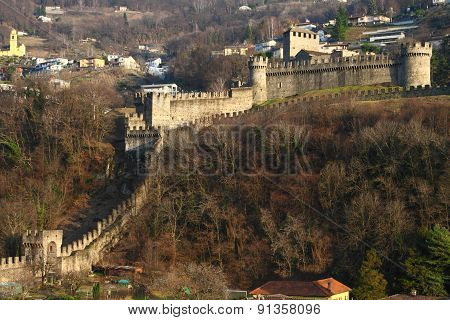 Bellinzona castle and wall towers