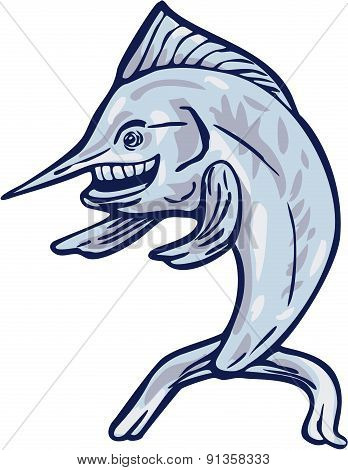 Blue Marlin Pointing With Fins Cartoon