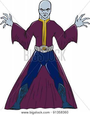 Bald Sorcerer Casting Spell Isolated Cartoon