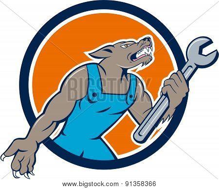 Wolf Mechanic Spanner Circle Cartoon