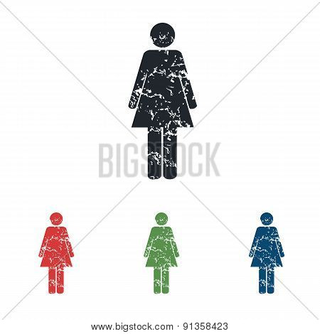 Woman grunge icon set