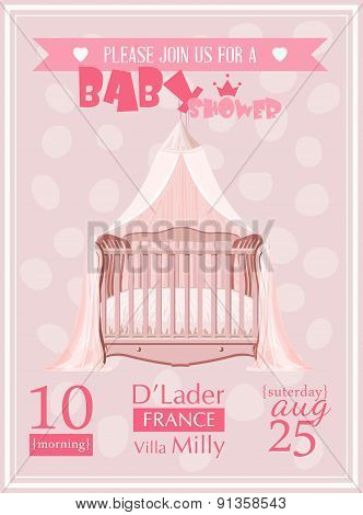 Baby shower girl invitation template vector illustration. Pink, rose, red colors