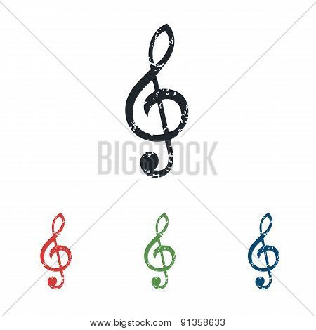 Treble clef grunge icon set