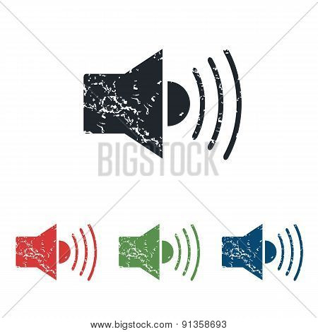 Loudspeaker grunge icon set