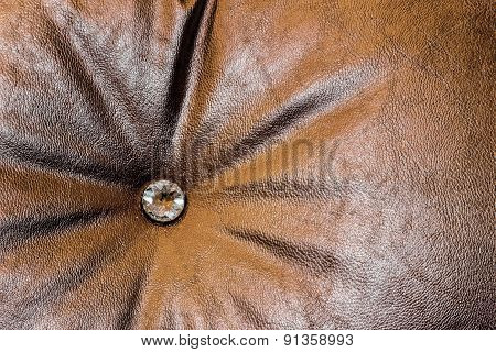 Close Up Daimon On Leather Texture In Brown