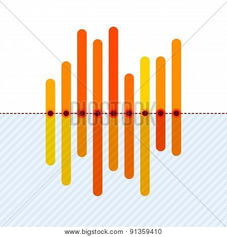 Infographics with asymmetric orange overlapping bars