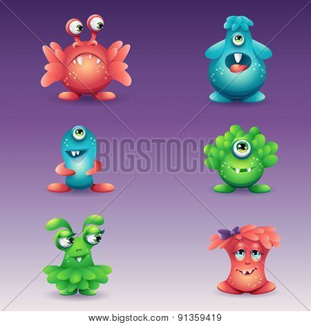 Set Of Colored Cartoon Monsters, Different Emotions