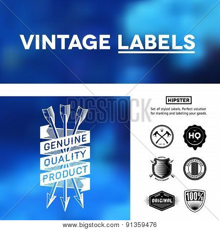 Vintage premium labels set on tile structured layout and blurred background