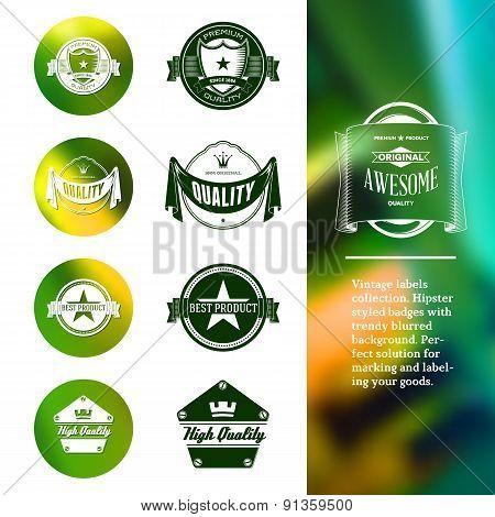Vintage premium labels set on tile structured layout and blurred background