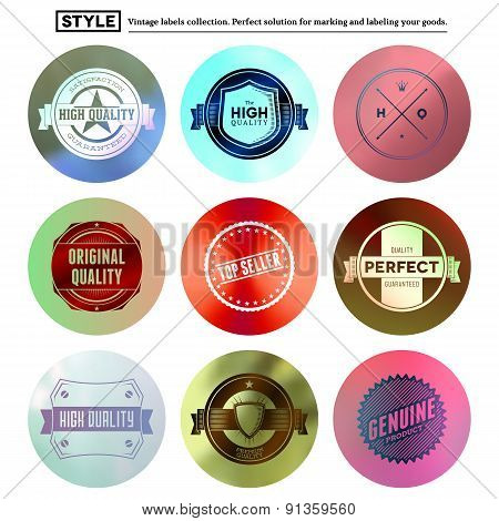 Vintage premium labels set on tile structured layout and blurred circles