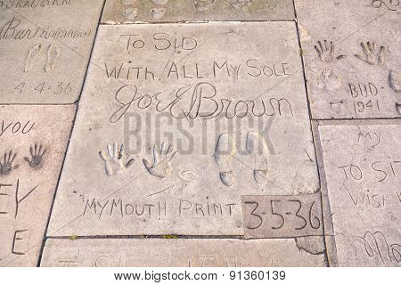 Handprints Of Joel Brown In Hollywood Boulevard In The Concrete Of Chinese Theatre's Forecourt