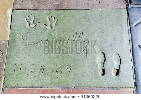 Gene Kellys Handprints In Hollywood Boulevard In The Concrete Of Chinese Theatre's Forecourt