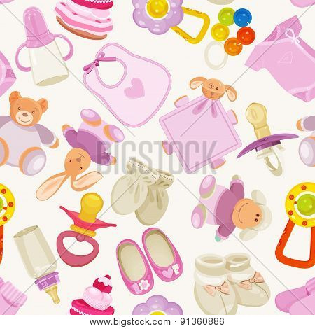 Seamless pattern with colorful baby items for newborn girl