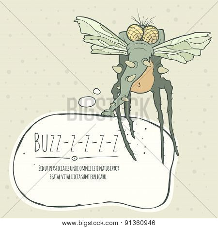 Illustration monster fly with long legs, wings and proboscis. Speech bubble.