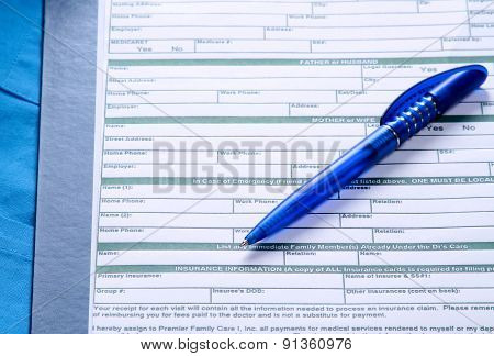A blue pen on a rx prescription
