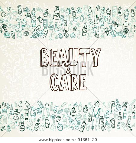 Doodle Cosmetics And Self-care Background