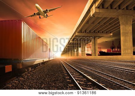 Industry Container Trains Running On Railways Track  Cargo Plane Flying With Land Bridge Transportat