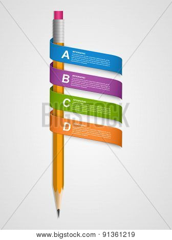Creative Infographics Template With Pencil And Ribbons. Vector Illustration.