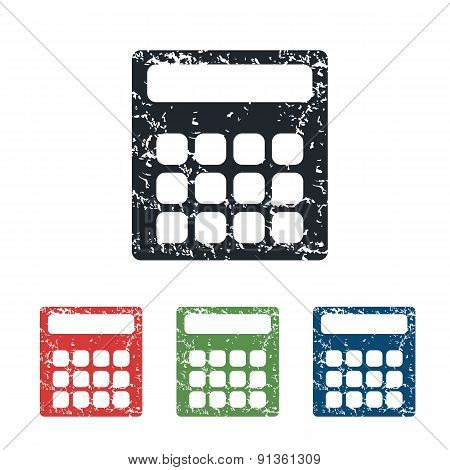 Calculator grunge icon set