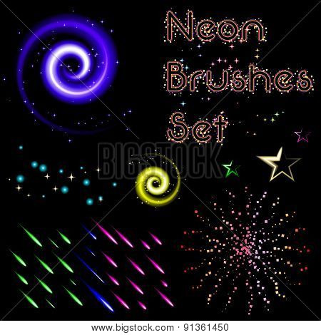 Set Of Neon Brushes