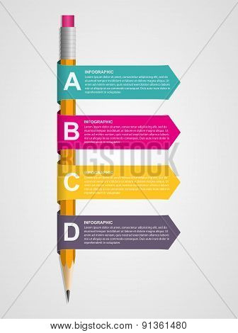 Creative education infographics template with pencil and ribbons.