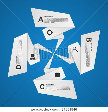 Abstract Paper Options Infographic. Design Element. Vector Illustration.