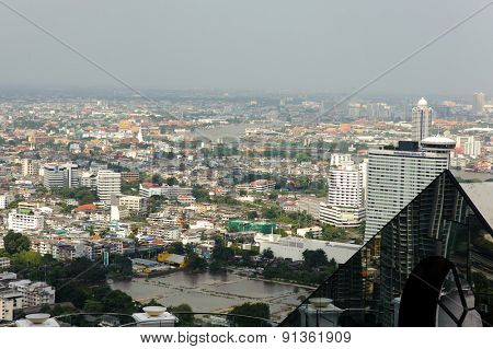 BANGKOK, THAILAND - OCTOBER 27, 2011: Aerial vew on Bangkok downtown from Leboa hotel. Bangkok is the capital of Thailand. It is known in Thai as Krung Thep Maha Nakhon.