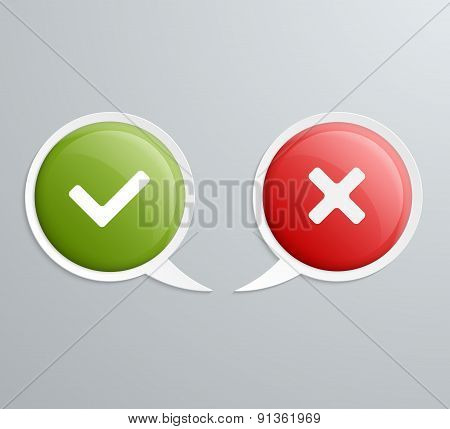 No And Yes Speech Icons. Vector Illustration.