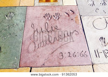 Handprints Of Julie Andrews In Hollywood Boulevard In The Concrete Of Chinese Theatre's Forecourt