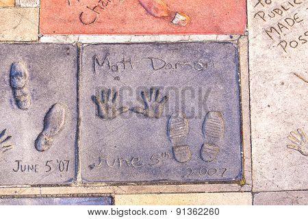 Handprints Of Matt Damon In Hollywood Boulevard In The Concrete Of Chinese Theatre's Forecourt