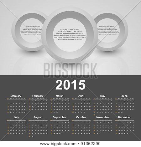 Calendar 2015 Year. Vector Template With Business Abstract Background.