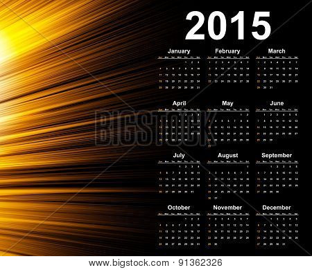 Calendar 2015 Year. Vector Template With Abstract Background.